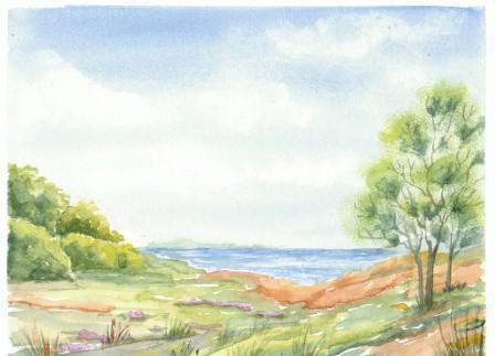 Landskab med Fyrtræ og buske