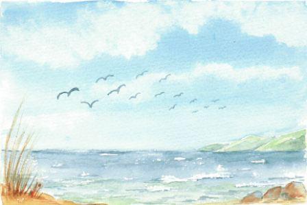 Himmel og hav med måger
