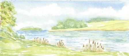 Landskab med sø