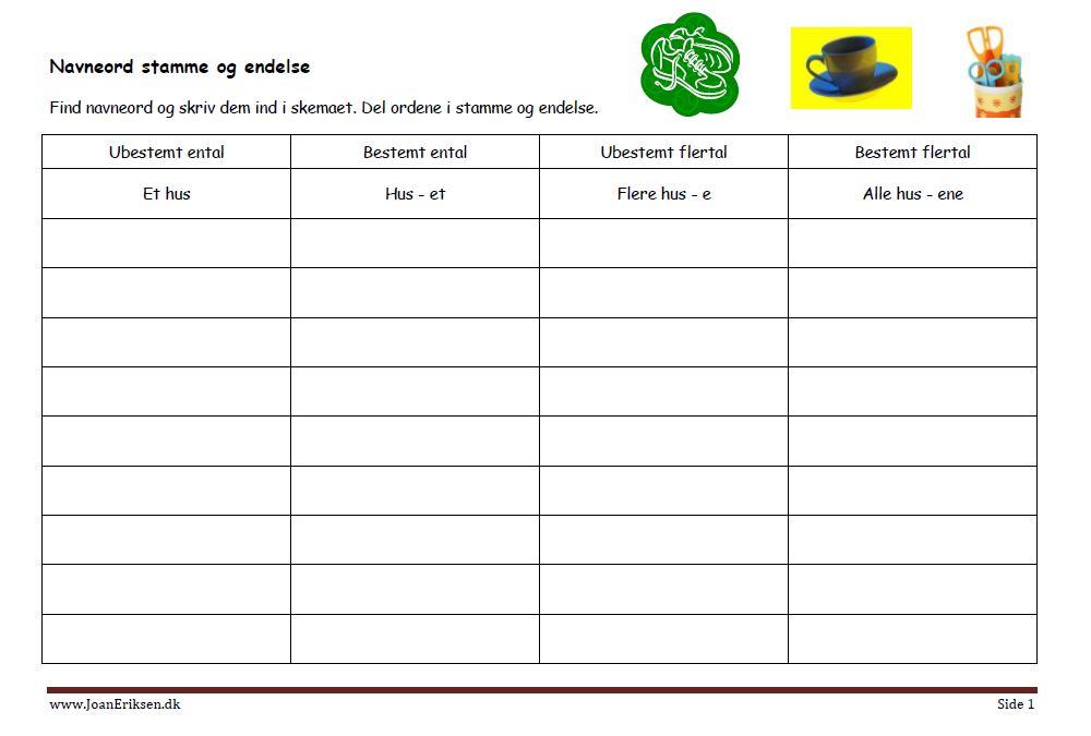 navneord-stamme-og-endelse-i-skema-opgave