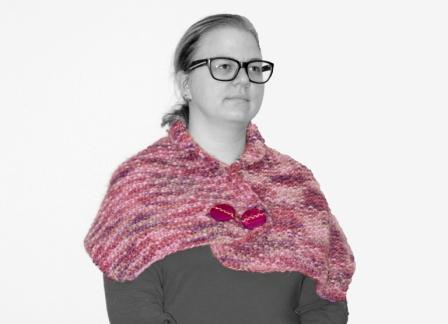 knapper i et strikket sjal