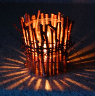 Lysestage med kobber maling