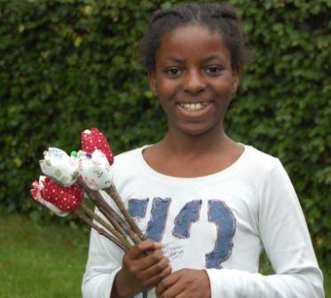Sentike lavede blomster til hendes lærer